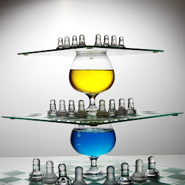 Three high by Peter Salmon - Artistic Objects Glass ( glasses, chess, glass, high, boards )