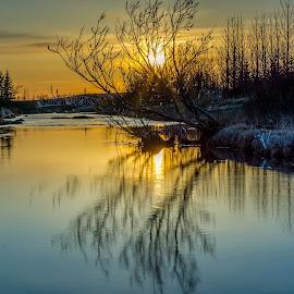 Calm by Sigurjon Magnusson - Landscapes Sunsets & Sunrises ( calm, river )