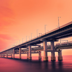 Passage on the red sea by Hiro Ytwo - Landscapes Waterscapes ( reflection, red, sunset, sea, bridge )