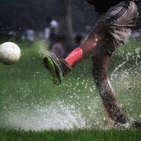 Kick off by Protim Banerjee - Sports & Fitness Soccer/Association football ( playing, kick, splash, shot, soccer )