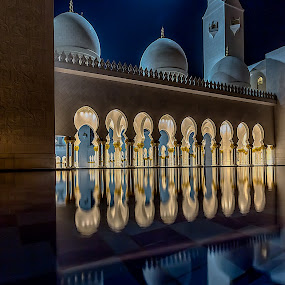 Sacred Night by Wissam Chehade - Buildings & Architecture Other Exteriors ( masjed, uae, sheikh zayed, reflections, night, abu dhabi )