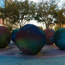 Art! by Michelle Bergeson - City,  Street & Park  Street Scenes ( sculptures, balls, patterns, colors, art,  )
