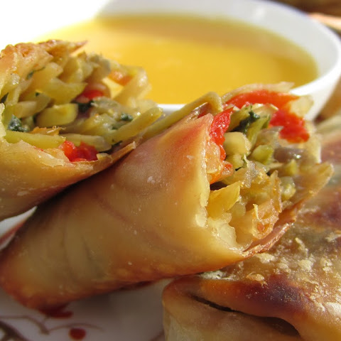 Skinny Baked Vegetarian Egg Rolls with Peanut Sauce