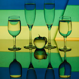 Summer Stripes by Lisa Hendrix - Artistic Objects Glass ( reflection, colorful, color, blue, apple, flutes, glass artistic, colors, object, yellow, wine glasses, gree )