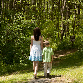 Brother and sister by Katie Woolwine - Novices Only Portraits & People ( trees, children, siblings, woods, pwcpaths )