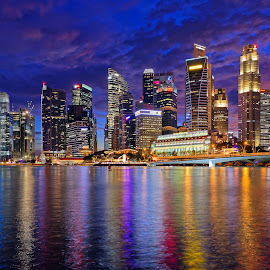 Singapore CBD by Claus Dahm - City,  Street & Park  Skylines ( skyline, cbd, blue hour, night, singapore cbd )
