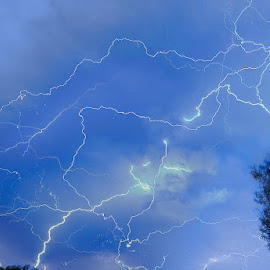 Lightning  by Ken Stavrou  - Abstract Light Painting ( thunderstorm, blue, light trails, storm, bolts )