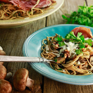 Mushroom and Shallot Spaghetti with Crispy Prosciutto