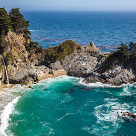 PCH by Mark Ritter - Landscapes Beaches ( water, hills, pch, waterfall, trees, pacific, ocean, rocks, coast )