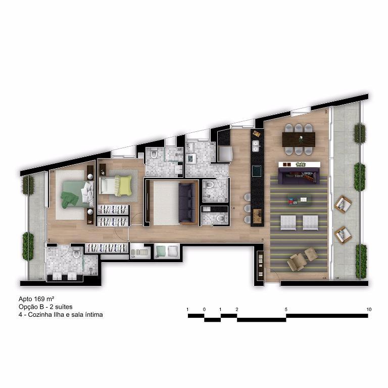 Planta Tipo Final 1B com Cozinha Ilha e Sala íntima - 169 m²