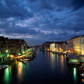Sunset on Grand Canal in Venice  by Gale Perry - Landscapes Waterscapes ( blue, stormy sky, sunset, grand canal, venice, drama, from rialto bridge )