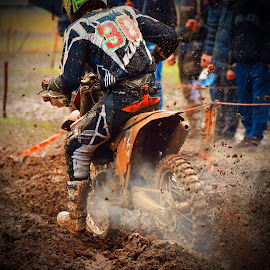 Muddy Race by Marco Bertamé - Sports & Fitness Motorsports ( bike, mud, motocross, rear, motorcycle, clumps, race, competition )
