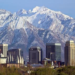 Salt Lake City Skyline #2 by Tony Huffaker - City,  Street & Park  Vistas ( mountains, skyline, buildings, view, close, city )