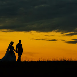 Together by Peter Hutchison - Wedding Bride & Groom ( walking, sunset, horizon, bride and groom, holding hands )