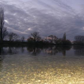 Cetina gray and gold sunset by Milan Gilić - Landscapes Waterscapes ( cetina river gray gold sunset )