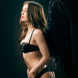Dark Angel by Robert Jr Choquette - Nudes & Boudoir Boudoir ( angel, glamour, sexy, lingerie, wings, boudoir, black )