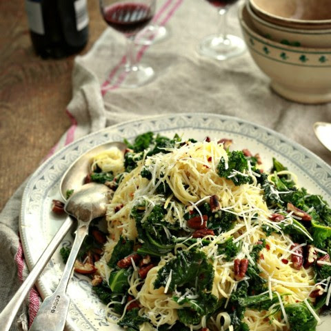 Angel Hair Pasta with Lemon, Kale and Pecans