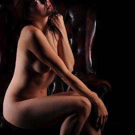 Disturbed by DJ Cockburn - Nudes & Boudoir Artistic Nude ( chair, reclining, art nude, sitting, woman, naked, helen diaz, curves, shadows )