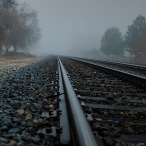 Foggy Railway by Kyley Hansen - Travel Locations Railway ( foggy, railway, fog, railroad, weather, train )