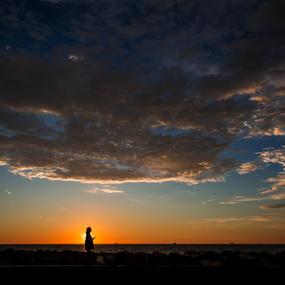 by Mahdi Hussainmiya - Uncategorized All Uncategorized ( silhouette, sunset, clouds and sea, cloudscape, human interest, golden hour )