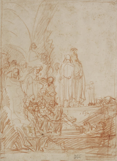 This drawing by <b>Rembrandt</b> was made in response to a print after a work by his friend and rival <b>Jan Lievens</b>, <b>'The Raising of Lazarus'</b> (1630).