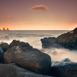 Rocks Sunset by Maurizio Santonocito - Landscapes Waterscapes ( sunset, landscape, rocks, sicily )
