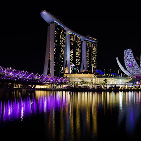Marina Bay Waterfront by Yi Xuan Lee - City,  Street & Park  Skylines ( lights, purple, night, waterfront, marina bay )