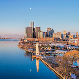 Morning on the Detroit River by Pat Eisenberger - City,  Street & Park  Skylines ( detroit river, moon, reflection, cityscape, dawn, detroit, skyline, morning )