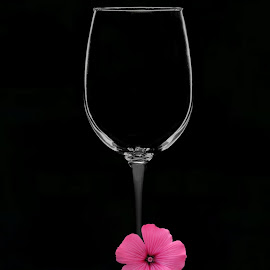 Wine Glass and Flower by Christy Stanford - Artistic Objects Still Life ( empty, glass, pink, object, flower )