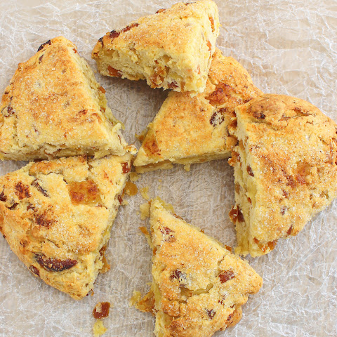 Scones with Apricot, Ginger and Brie