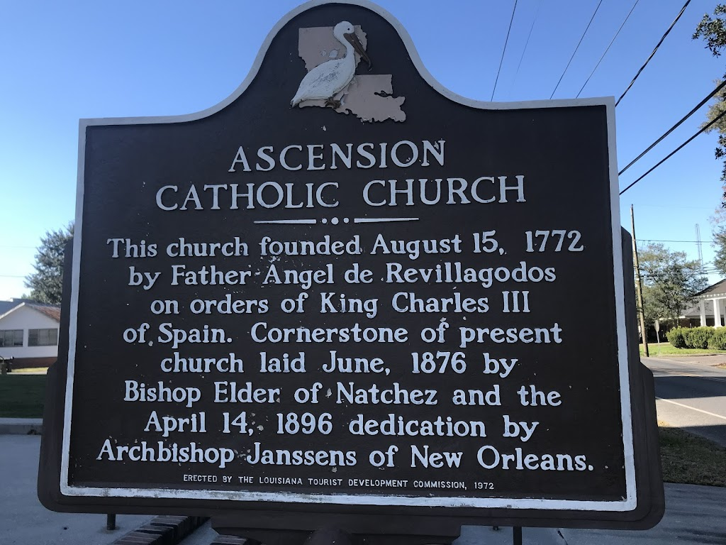 This church founded August 15, 1772 by Father Angel de Revillagodos on orders of King Charles III of Spain. Cornerstone of present church laid June, 1876 by Bishop Elder of Natchez and the April 14, ...