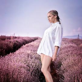 She's in a field of lavender by Andrija Radickovic - People Fashion ( fashion, lavanda, model, purple, lavander, beautiful, beauty, pretty, purple flower, sensual, sexy, girl, summer, fashion photography, shirt )