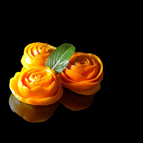 Orange Roses by Aamir Soomro - Food & Drink Fruits & Vegetables ( rose, orange, green, roses, leaf, black )
