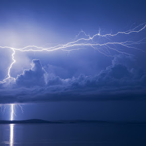 Lightning storm by Ivan Stulic - Landscapes Weather ( clouds, lightning, cumulonimbus, sea, storm, thuderstorm )