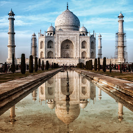 Taj Mahal - Reflections by Deepak Goswami - Buildings & Architecture Public & Historical ( symbol of live, taj mahal, agra, india, architecture, beauty, palace, mughal )