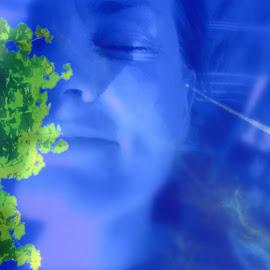 I dag vil eg liggja på ryggjen og sjå på lerka som svinger seg høgt i det blå... Eller på skyer og flaggstenger:)Utsikt fra en benk i sommervarmen by Hjørdis Steinsvik - Digital Art People