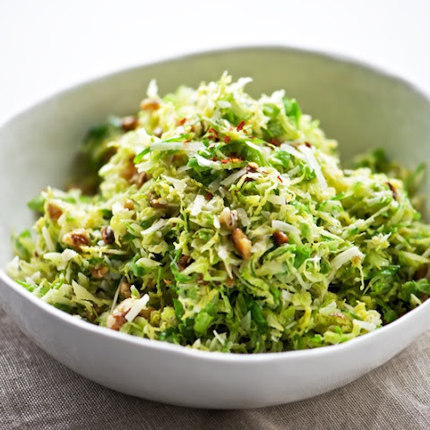 Shaved Brussels Sprouts with Pecorino + Walnuts