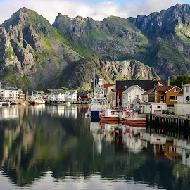 The quayside by Mandy Hedley - Landscapes Travel ( quayside, boats, islands, fishing, lofoten, norway )