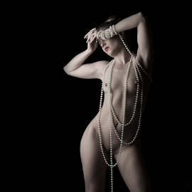 Girl with Pearls by Marie Otero - Nudes & Boudoir Artistic Nude ( boudoir photography, model, nude, low key, female, boudoir, pearls, beautiful, fine art, beauty, nudes )