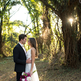 In the forest by Andrew Morgan - Wedding Bride & Groom ( love, sunburst, wedding, wedding dress, sunlight, bride, groom )