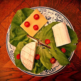 Cheese plate by Ciprian Apetrei - Food & Drink Meats & Cheeses ( salad, food photography, cheese, brittany, dessert )