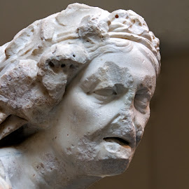 Head, Marble Statue of an Old Woman by Judy Florio - Artistic Objects Antiques ( antiquity, sculpture, face, statue, classical, metropolitan, woman, art, museum, new york )