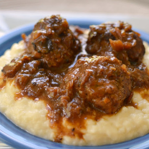 French Onion Meatballs & Smashed Cauliflower