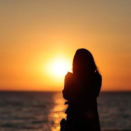 Beach Sunset by Nish Veer - People Street & Candids ( girl, silhouette, sunset, beach )