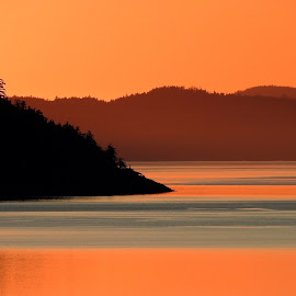 Satellite Channel, BC, Canada by Campbell McCubbin - Landscapes Sunsets & Sunrises ( water, red, islands, sunrise, island )
