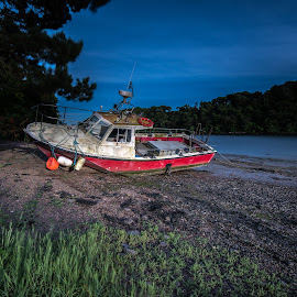 by John Holmes - Transportation Boats ( red, sky, restuart )