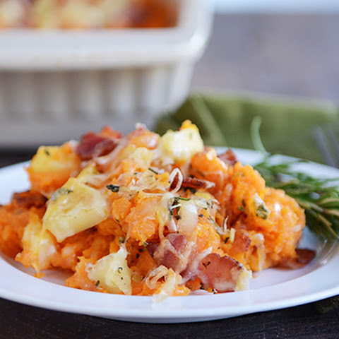 Stuffed Apple and Bacon Sweet Potato Casserole