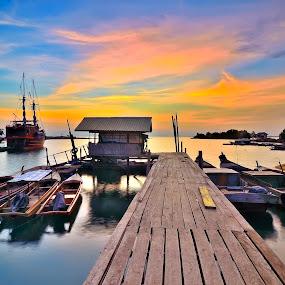 The Parking Boats by Irwansyah St - Transportation Boats ( water, batam island, sunset, boats, sunrise )