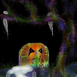 by Darlene Lee - Digital Art Abstract ( #scfireart #pumpkin#halloween #jackolantern )