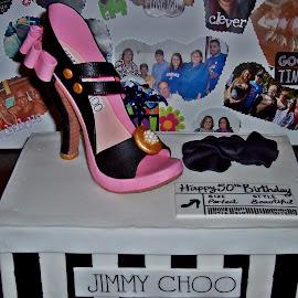 Shoe Cake by Sandy Stevens Krassinger - Food & Drink Candy & Dessert ( cake, strap, food, heel, pink, bow, shoe, black,  )